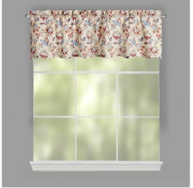 Jacobean Tan Window Valance Colorful Floral Print Design