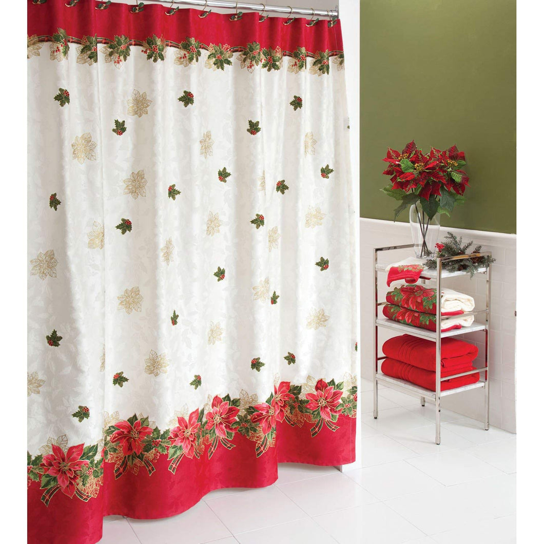Poinsettia Tartan Fabric Shower Curtain Christmas Holiday