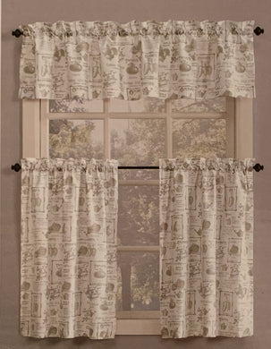 Kitchen Curtain Set 36L Tiers and Valance Summer Garden Lichtenberg Linen Seeds