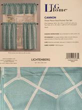 Kitchen Curtain Set 36L Tiers and Valance Cannon Aqua Lichtenberg Geometric