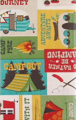 Enjoy the Journey Campout Vintage Trailer Vinyl Flannel Back Tablecloth 60 Round