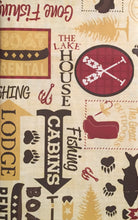 Lodge Gone Fishing Fisherman Boating Vinyl Flannel Backed Tablecloth 60 Round