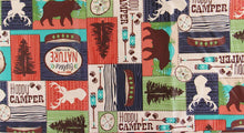 Wildlife Lodge Bear Happy Camper Patchwork Vinyl Flannel Back Tablecloth 60 Rd