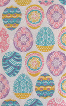 Colorful Geometric Floral Easter Eggs Vinyl Flannel Back Tablecloth 60 Round