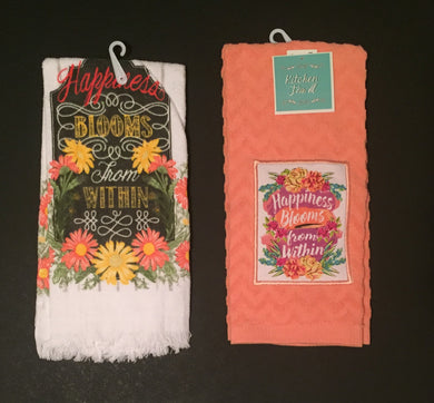 Kitchen Towel Set Happiness Blooms From Within Floral Set of 2