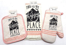 This Is My Happy Place Kitchen Linen Set Towels Potholder Oven Mitt 4 pc Pink