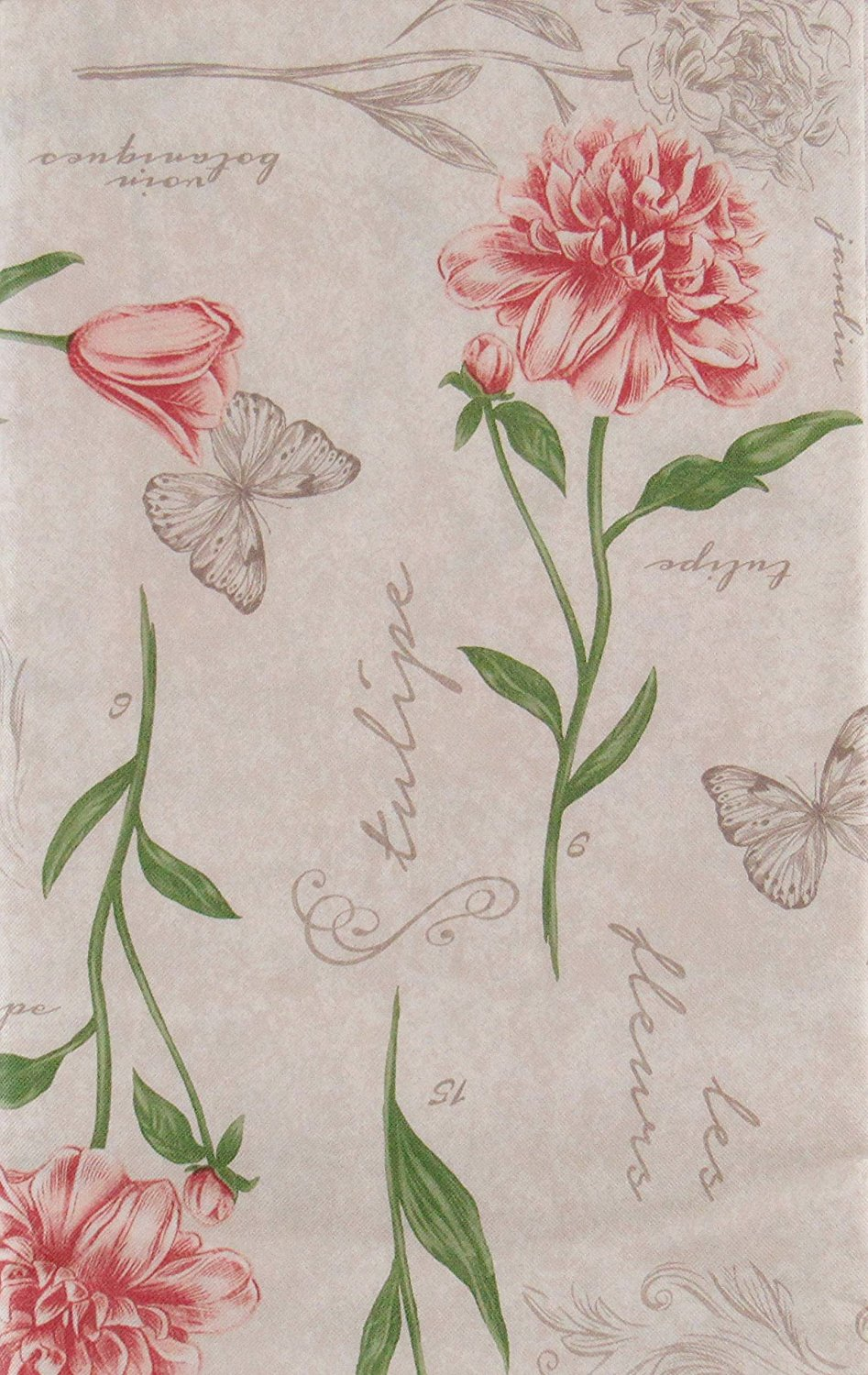 Butterflies Tulips Carnations Vinyl Flannel Back Tablecloth Assorted Sizes