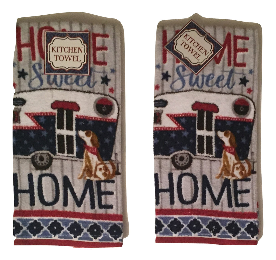 Patriotic RV Camper Trailer Kitchen Towels Set of 2 Camping Home Sweet Home