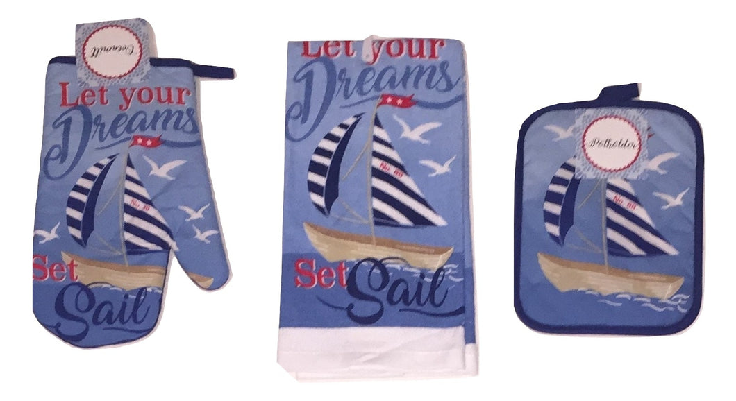 Nautical Let Your Dreams Set Sail Kitchen Towel Potholder Oven Mitt 3 pc Set