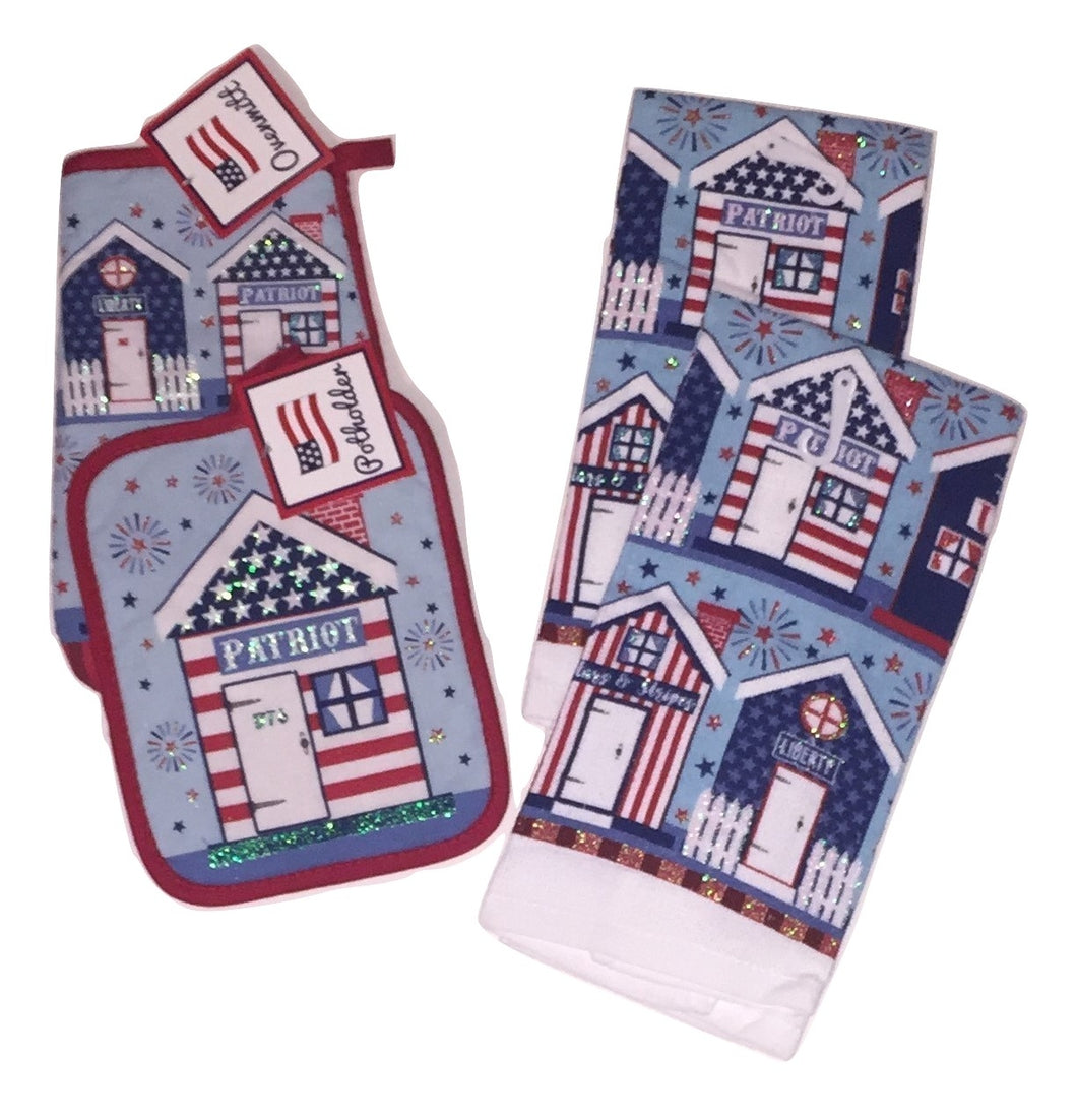 Patriotic Americana Houses 4 pc kitchen towels potholder oven mitt set