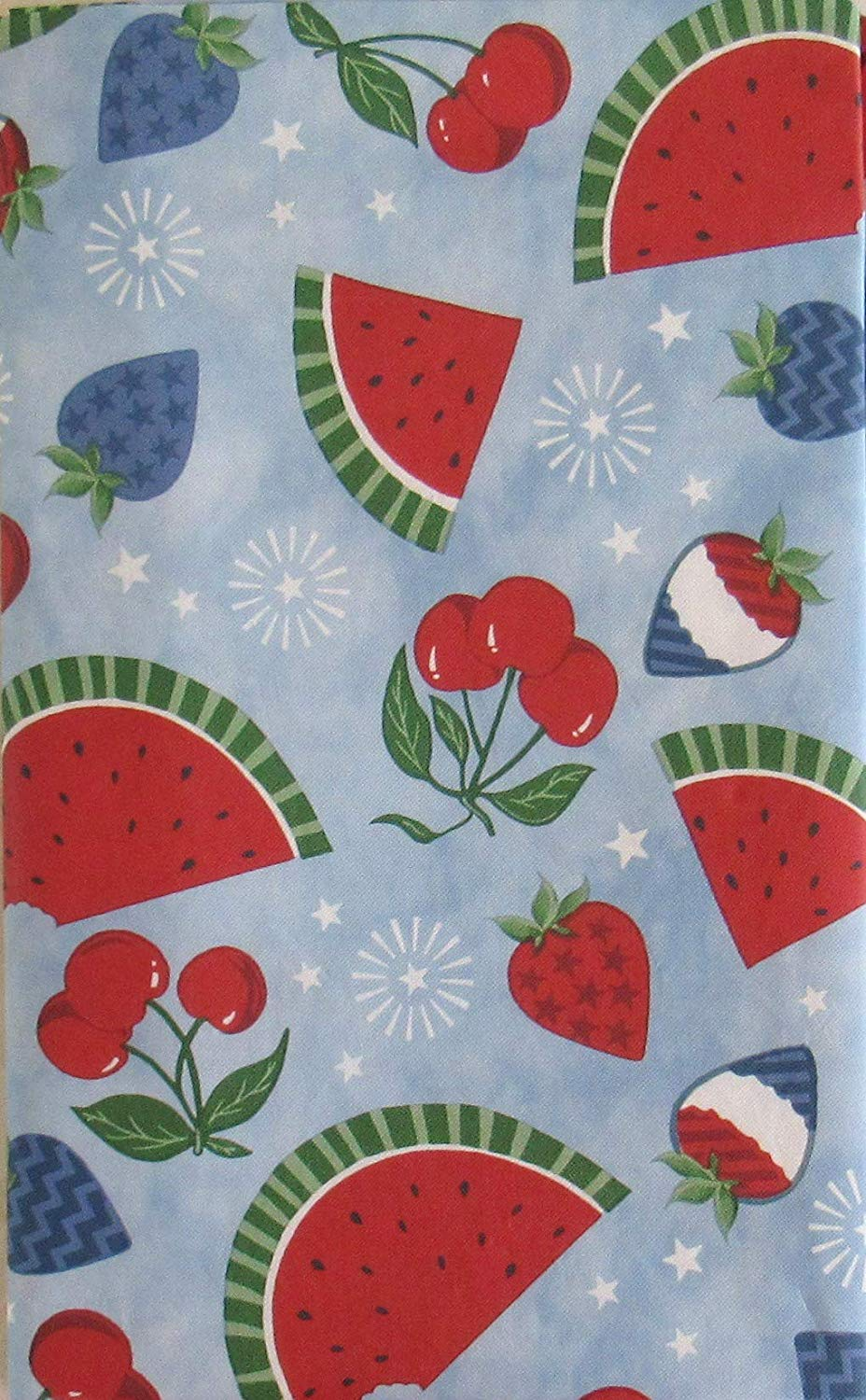 Patriotic Summer Fruits and Stars Vinyl Flannel Back Tablecloth 60 Round
