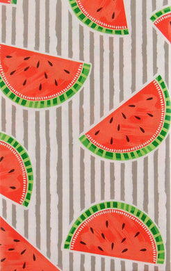 Mainstream Watermelons on Stripes Vinyl Flannel Back Tablecloth 60 inch Round