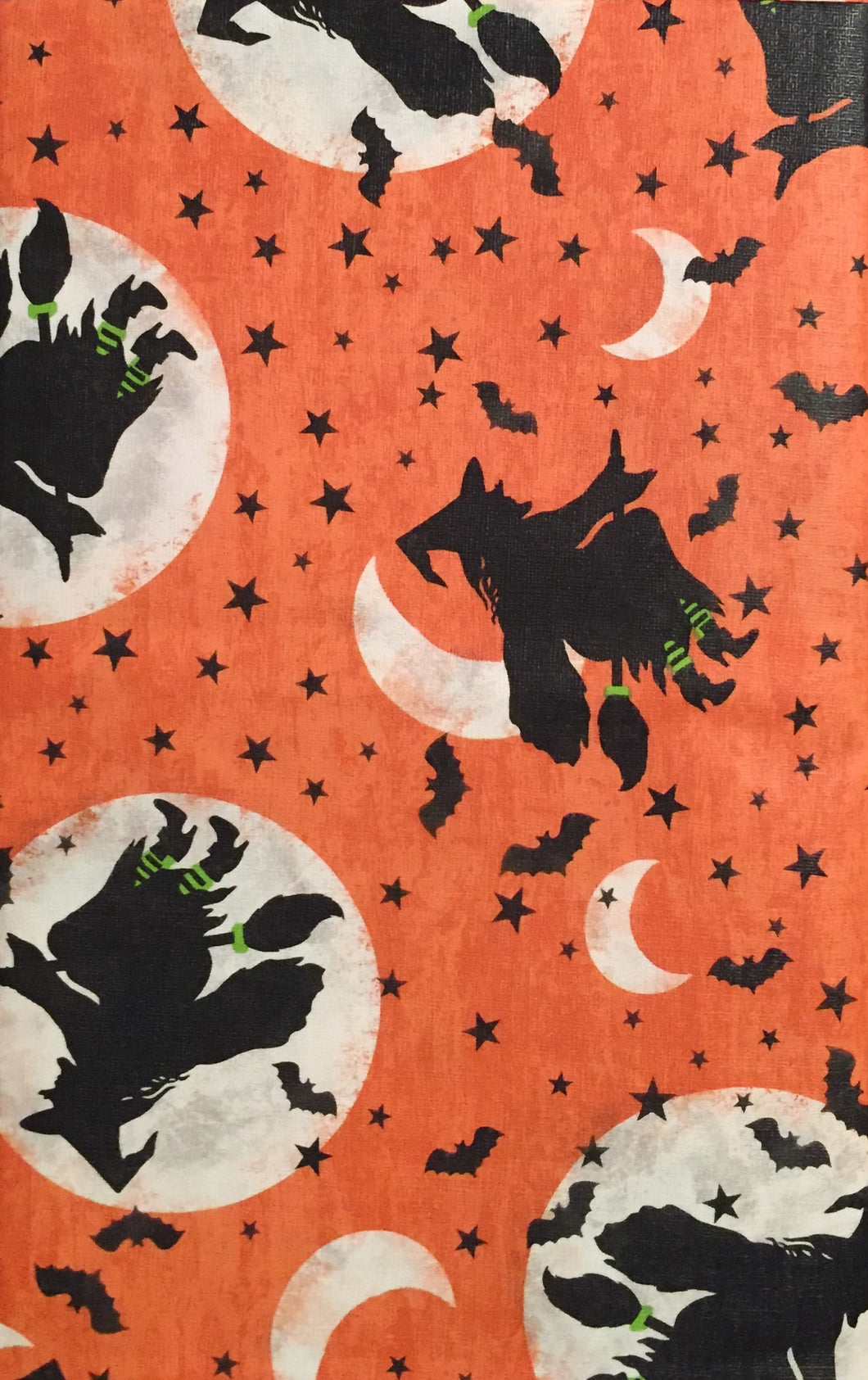 Halloween Witches Bats on Orange Vinyl Flannel Back Tablecloth 52 x 70 Oblong
