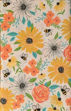 Bees and Flowers Vinyl Flannel Tablecloth 52 x 70 Oblong