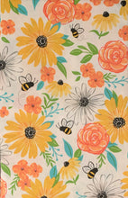 Bees and Flowers Vinyl Flannel Tablecloth 52 Square