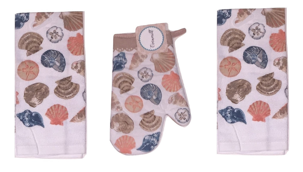 Coastal Seashell Kitchen Towels Oven Mitt 3 piece Set