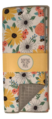 Bees and Flowers Dish Drying Mat Microfiber Reversible