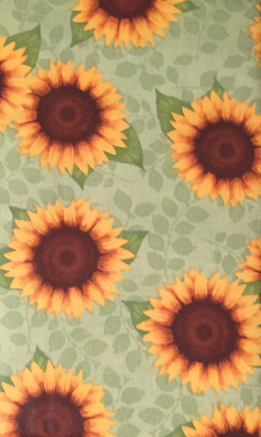 Colorful Yellow Sunflowers on Green Vinyl Flannel Back Tablecloth 52 Square