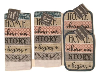 Kitchen Linen Set Towels Potholders Home Where Our Story Begins