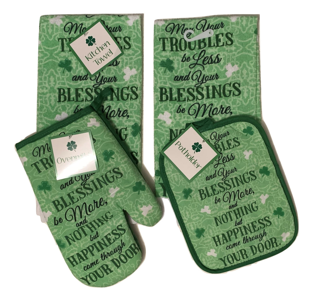 Irish Kitchen Linen Set Towels Potholder Oven Mitt Blessing St Patricks Day