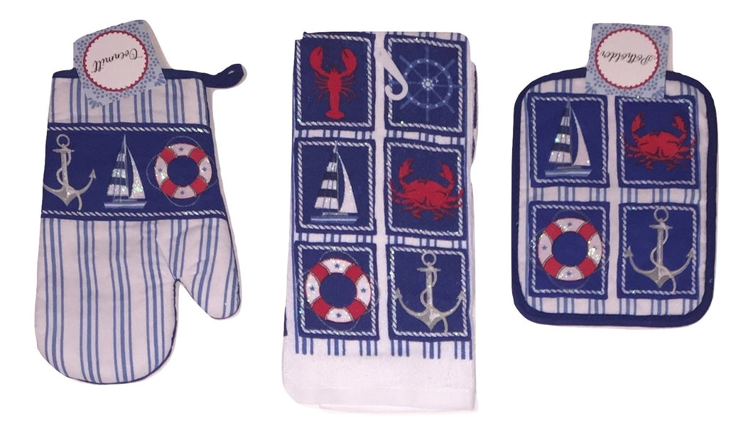 Nautical Sailboat Lobster Crab Anchor Kitchen Towel Potholder Oven Mitt 3 pc Set