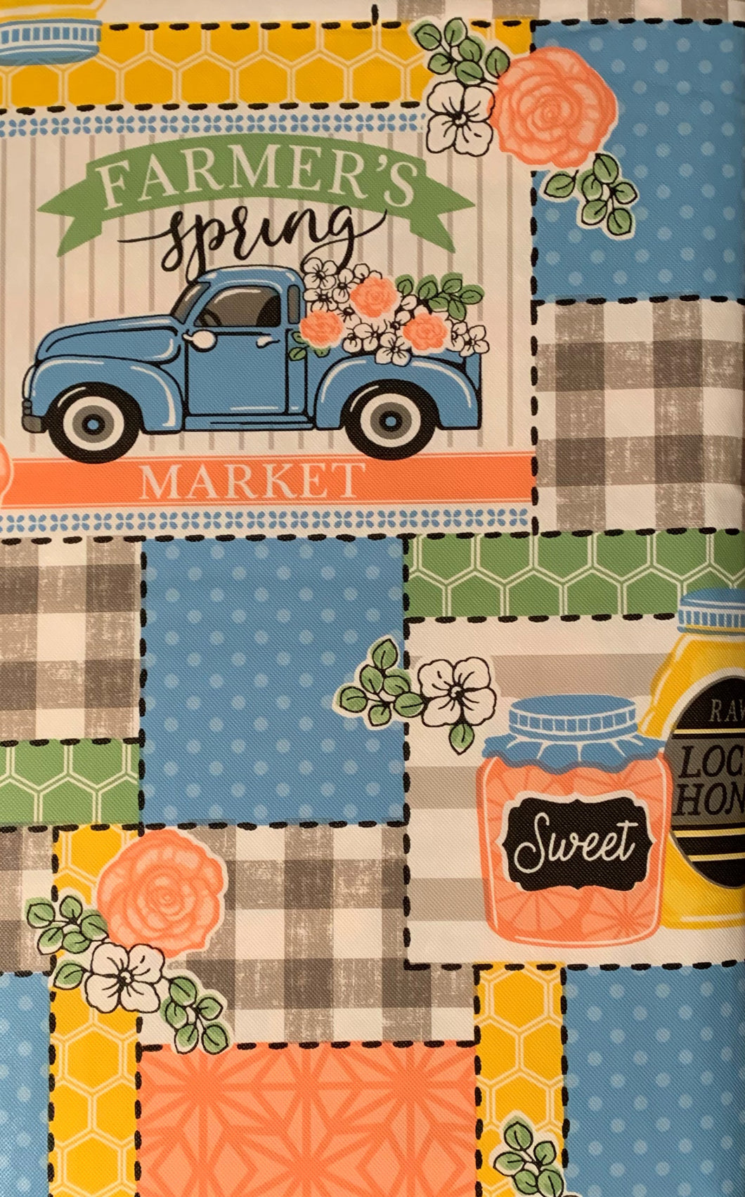 Farmers Spring Market Vinyl Flannel Tablecloth 60 Round Honey Flowers