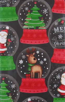 Merry Christmas Santa Reindeer Snow Globes Vinyl Flannel Back Tablecloth 60 Round