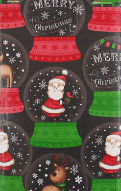 Merry Christmas Santa Reindeer Snow Globes Vinyl Flannel Back Tablecloth 52 x 70