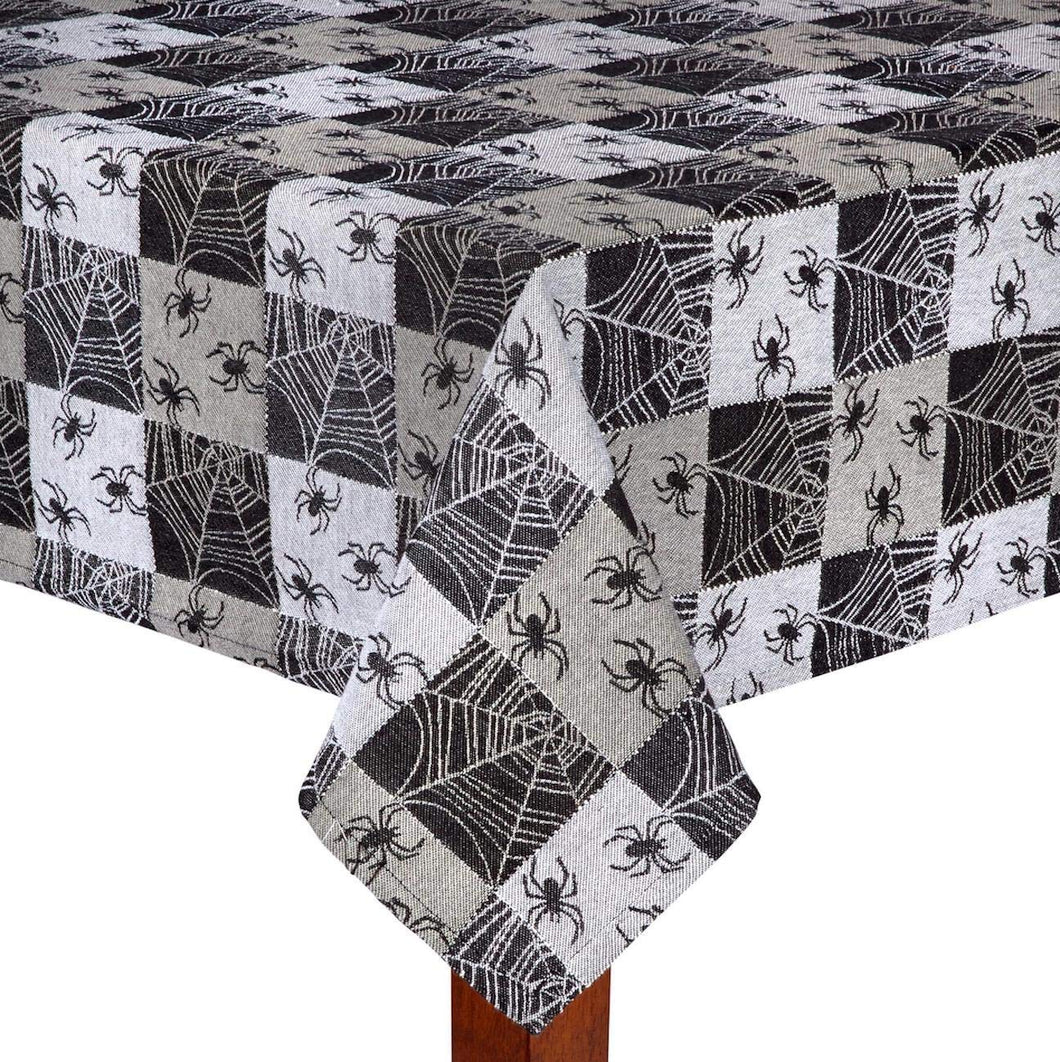 Black Checkered Spider Web Fabric Jacquard Halloween Tablecloth 52x70 Oblong