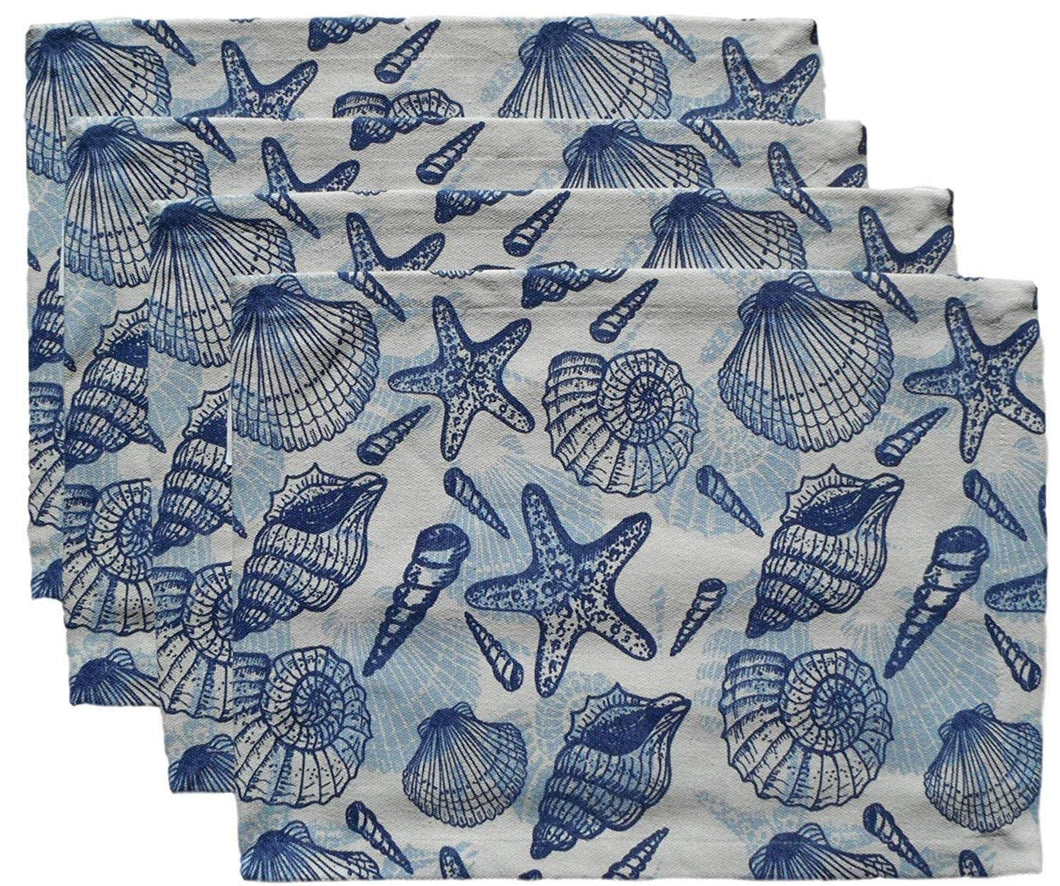 Sea Life Seashells Blue Cotton Canvas Placemats Set of 4