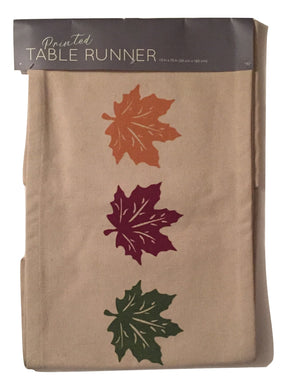 Fall Table Runner Cotton Canvas 13 x 72 Beige Leaves Autumn Thanksgiving