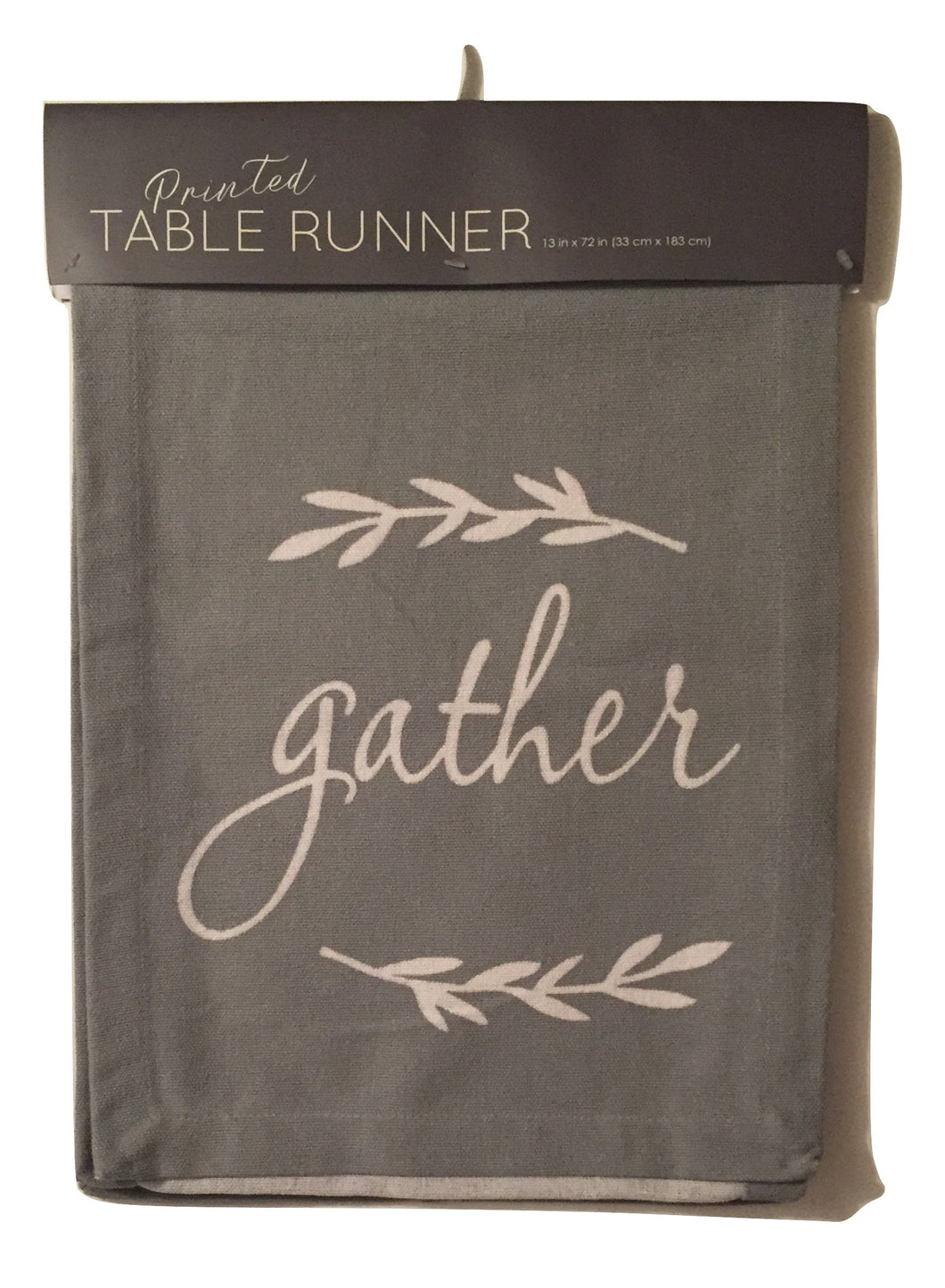 Fall Table Runner Cotton Canvas 13 x 72 Gray Gather Autumn Thanksgiving