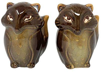 Foxes Salt and Pepper Shakers Dark Brown Ceramic Natures Home