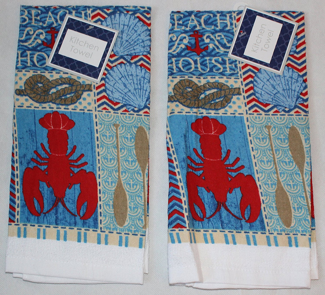 Nautical Beach House Lobster Set of 2 Kitchen Towels
