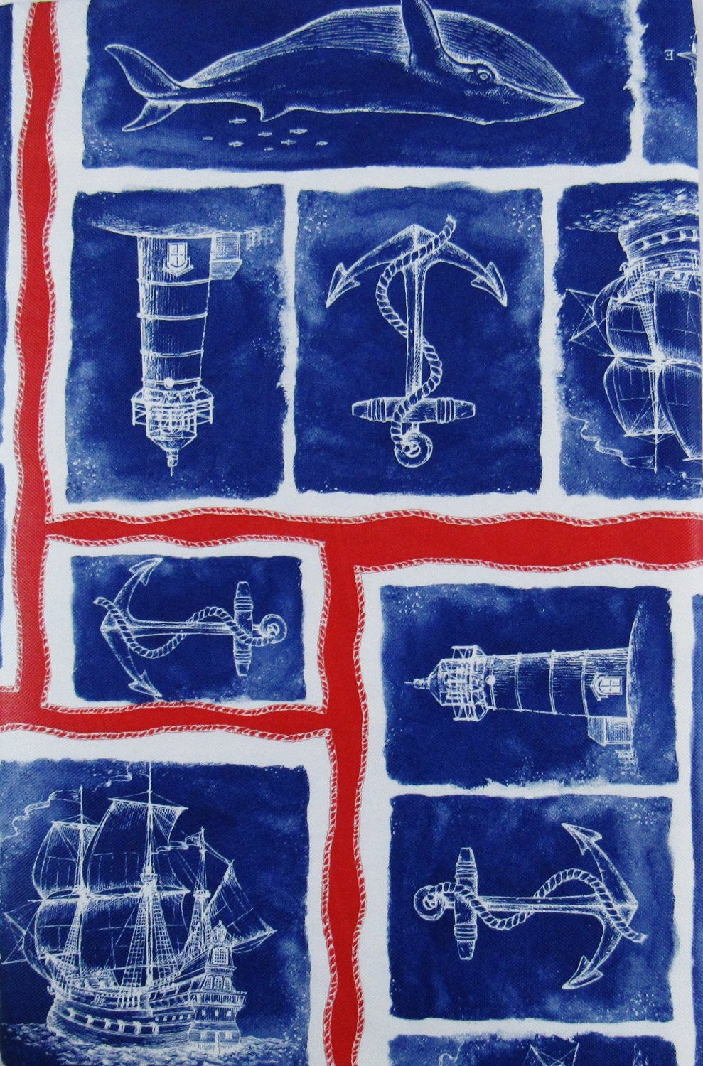 Elrene Nautical Patchwork Whales Lighthouse Vinyl Flannel Tablecloth 52