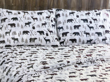 Remington Queen Sheet Set Bear Deer Moose Woodsman Cabin Hunter Red Plaid Gray
