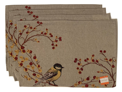Birds and Berries Tapestry Placemats Set of 4