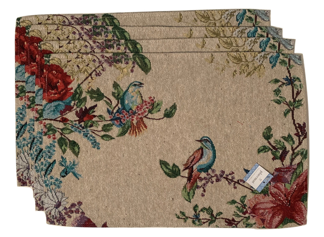 Birds and Flowers Tapestry Placemats Set of 4