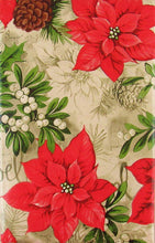 Noel Poinsettias Christmas Holly Mistletoe Vinyl Flannel Tablecloth 52x70 Oblong