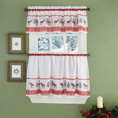 Moose Reindeer Evergreen Snowflakes Tier Set or Valance Red Woodland Christmas