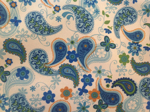 Reversible Blue Paisley Set of 4 Placemats