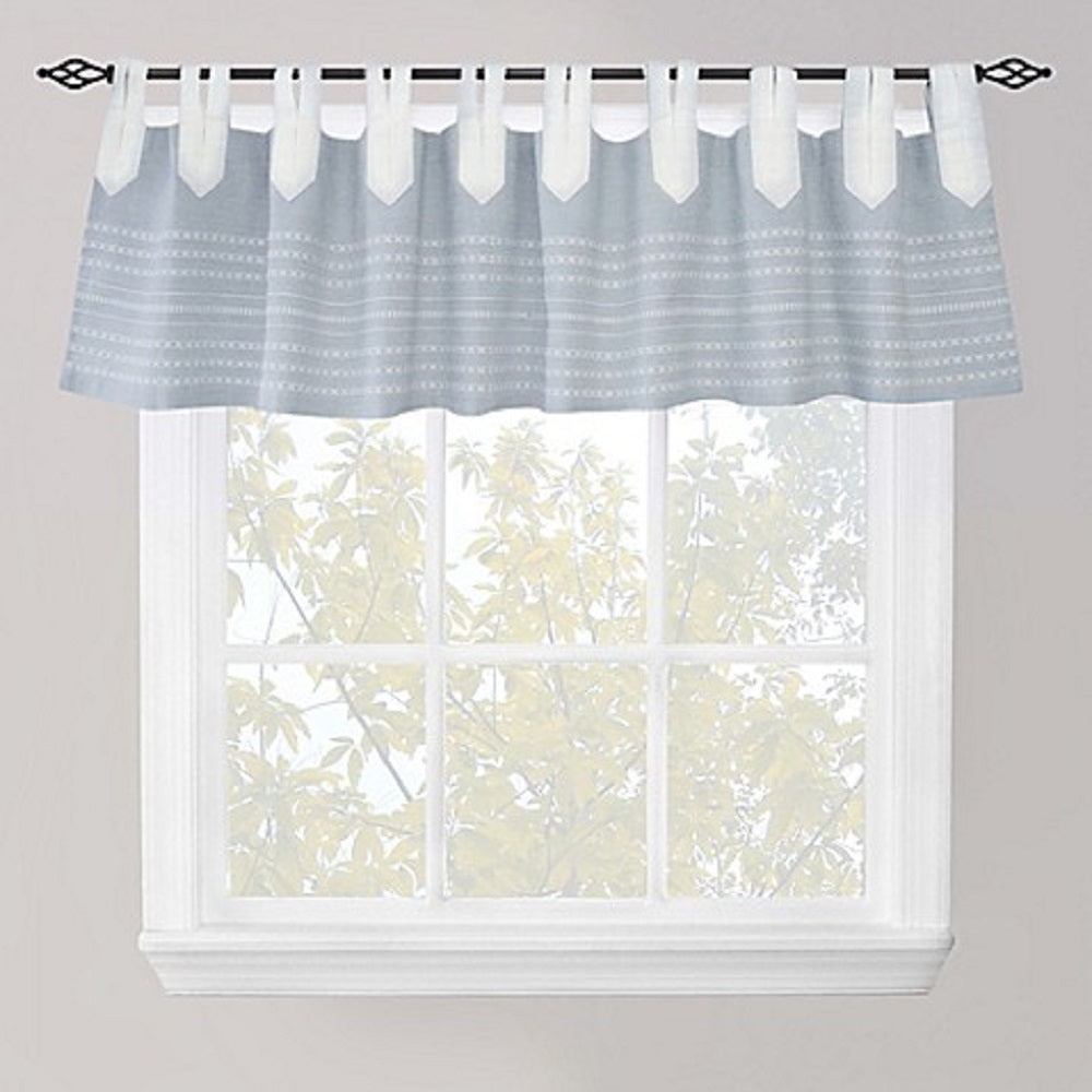 Park B Smith Nordic Bands Chambray Split Tab Window Valance Blue