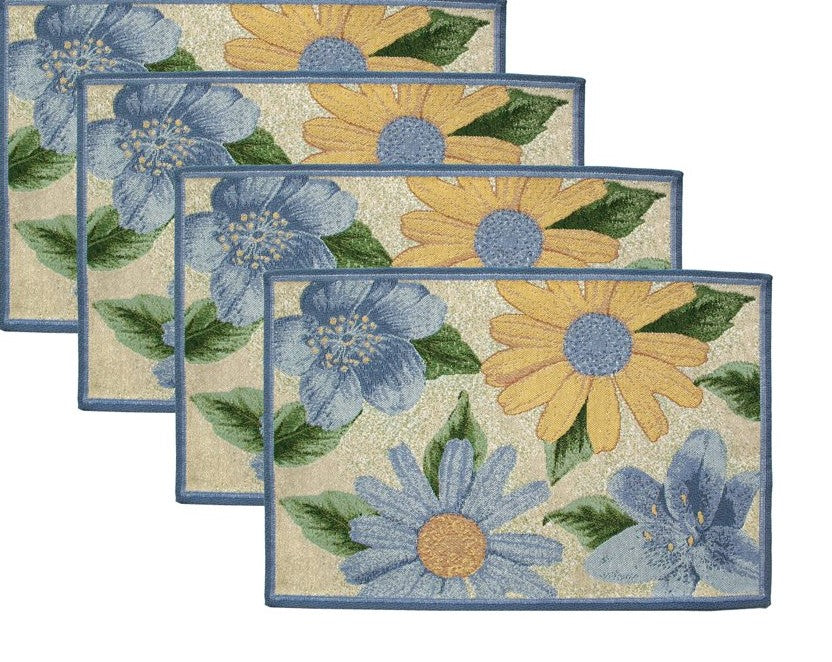 Park B Smith Tapestry Placemats Blue Floral Set of 4 Spring Bloom Cape Cod