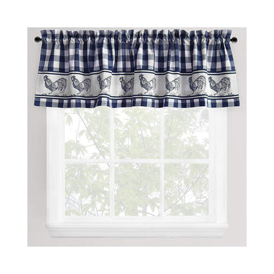 Park Smith Provencal Rooster Window Valance Navy Blue