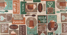 Patchwork Coffee Latte Java vinyl flannel back tablecloth Green Tan Various Sizes