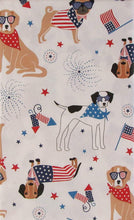 "Patriotic Pooches Flags and Fireworks Vinyl Flannel Back Tablecloth 60"" Round"