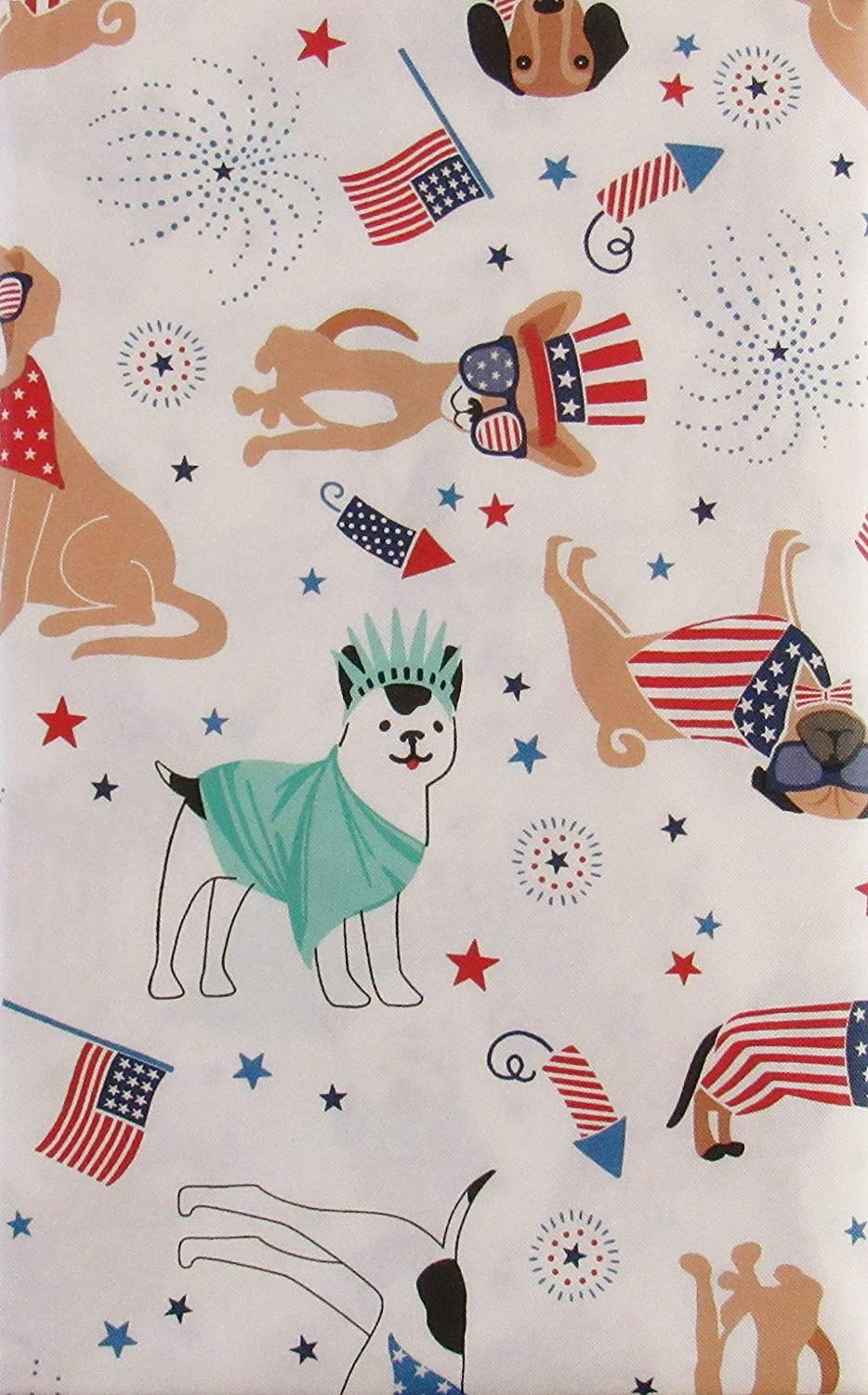 Patriotic Pooches Flags and Fireworks Vinyl Flannel Back Tablecloth 60