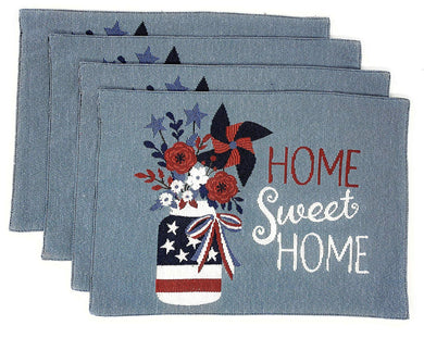 Patriotic Americana Tapestry Placemats Set 4 Home Sweet Home Flowers Mason Jar