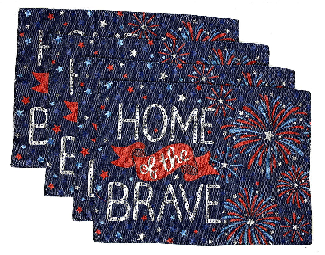 Patriotic Americana Tapestry Placemats Set 4 Home of the Brave Fireworks