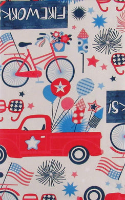 Patriotic Country Fireworks Festival Vinyl Flannel Back Tablecloth 60 Round